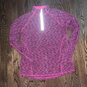Pink and black sweat wicking quarter zip